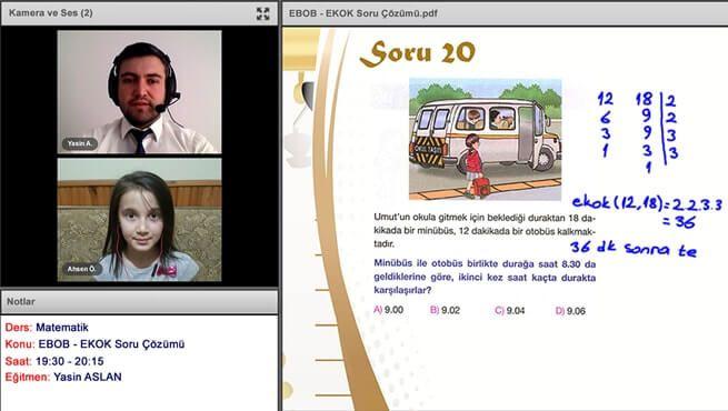 İnternetten ders ekran görüntüsü